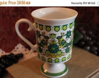 Summer Sun Sale Royal Crown Arnart Smug Mugs Footed Coffee Mug - Green Folk Art, Birds