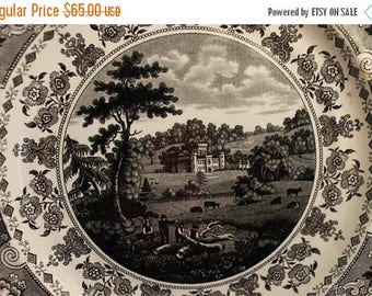 SALE Rare Antique Black Transfer Dinner Plate - Packet Ship Montreal from Clyde's Scenery Jackson Warranted