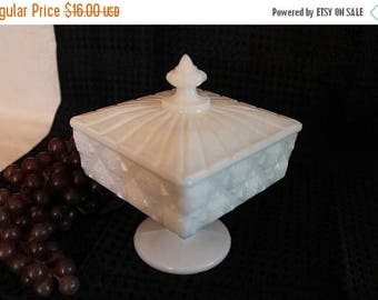 SALE Westmoreland White Milk Glass Old Quilt Footed Candy Dish with Lid in Excellent Condition