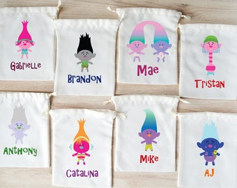 Trolls Favor Bags Trolls Party Favors Personalized Party Gift Bags Loot Bags Goodie Bags Drawstring Pouch Birthday Party Favors