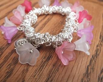Flower bracelet, pink and white bracelet, summer bracelet, silver bracelet