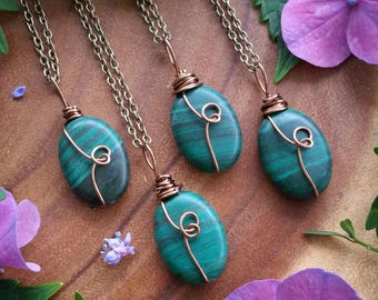 Malachite necklace, Malachite,  crystal necklace, green stone, wire wrapped, crystal , prosperity