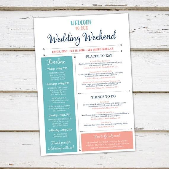 Printable Infographic Wedding Weekend Itinerary, Wedding Timeline ...