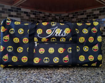 Black Emoji Icon Round Duffel Bag with Embroidery for summer camps, family trips, birthday gift, back to school, field trip