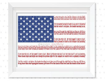 Star Spangled Banner, United States of America National Anthem, Flag Word Art Print, Typography,  USA flag art work,4th of July,Independence