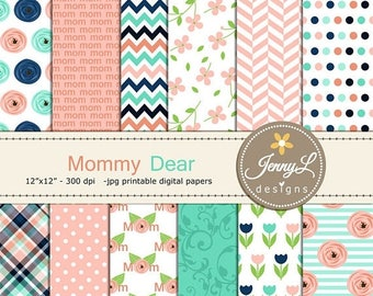 50% OFF Mother's Day Digital Paper, Flower Floral Scrapbooking Papers, Mom, Mother, Mommy, Mum, Tulip, Peach Navy Planner, Invitation, Card