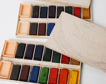 Set of 2 boxes of Vintage watercolor, paints in plastic box