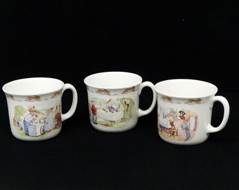 3 1988 Royal Doulton Bunnykins Coffee Cups Illustrated Rabbits English Fine Bone China