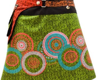 Reversible Hippie Patchwork Abstract Floral Detachable Pocket Wrap Skirt Green