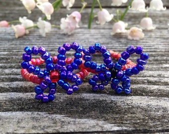Red & Blue Butterfly Rings