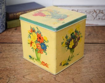 1940's vintage floral design cube tin with hinged lid