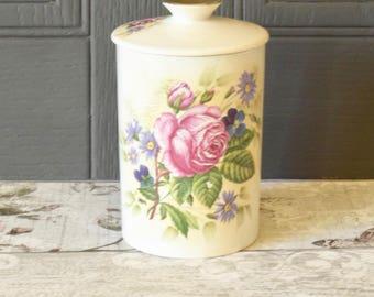 vintage rose floral lidded ceramic pot