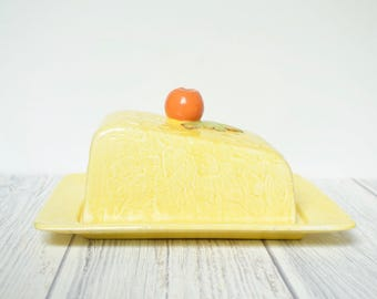 Large yellow vintage butter or cheese dish, 1940's glazed ceramic