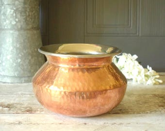 hammered copper plated steel pot or planter