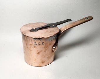 Antique Small Copper Camping Saucepan with Lid