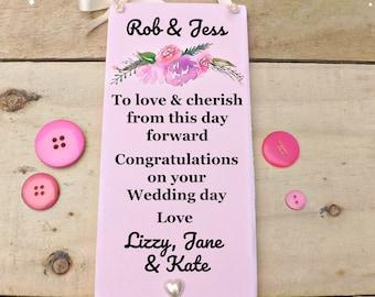 Wedding Sign To Love & Cherish Personalised Plaque Floral Keepsake