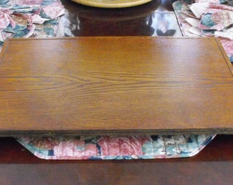 vintage large solid oak wooden rectangular rotating lazy susan carousel turntable handcrafted 25 inches long