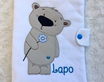 Diaper bag with teddy bear applique and embroidered name