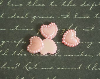 5 appliques iridescent acrylic 10mm pink hearts
