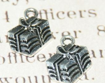 2 charms 12x12mm silver metal Christmas gift