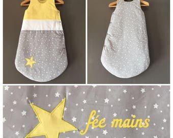 Sleeping bag 6-18 month gray cotton white and yellow stars in stock