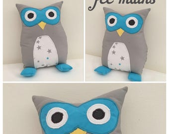 Plush or plush OWL or gray and turquoise OWL unique and original handmade gift