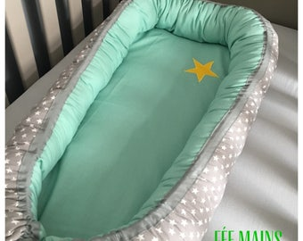 Babynest bed reducer or nest baby grey and Mint green with stars