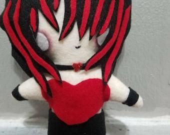 Valentine's Day Gothic Girl Plush Chibi Kawaii Cute