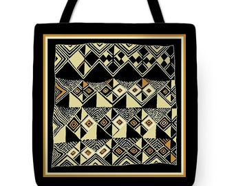 African Kuba inspired Designer Tote Bag Gift - African Tribal Design SilkyPoly Throw Pillow - Laptop Bag - ReUsable Shopping Grocery  Bag
