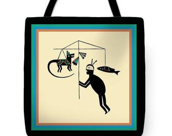 Southwest Shaman Hunter Ritual Tote Bag Design Gift - Southwest Tribal Design SilkyPoly Throw Pillow Gift - ReUsable Shopping Grocery  Bag