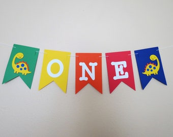 Dinosaur High Chair Birthday Banner - Primary Colors - 1st Birthday