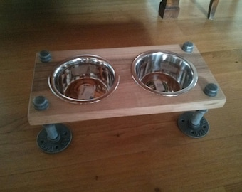 Rustic industrial pipe and wood pet feeder | rustic elevated dog bowl feeder | elevated pet feeding bowls
