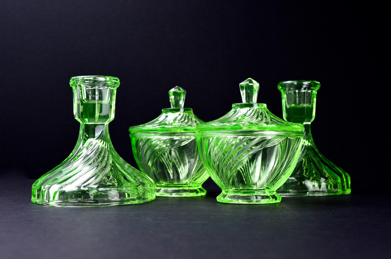 Green Glass Vanity Set Vintage Dressing Table Set Vintage ...