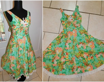 Vintage 70's does 50s Tropical Spring Rockabilly Swing Day Dress Jack Hartley Miami Retro XS