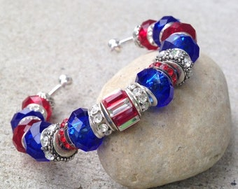 ON SALE July 4th Bracelet, Holiday Jewelry, Patriotic Jewelry, Red White and Blue, Cuff Bracelet, Independence Day, American Flag, Memorial