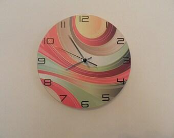 Modern colorful clock  extra quiet clockwork  plastic clock, girls room  boys room  kids room  red  black, nursery