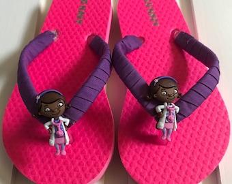 Hot Pink Doc Mcstuffins girl flip flops/ free shipping