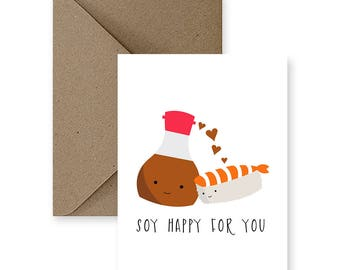 Cute Wedding Card, Cute Congratulations Card, Funny Congratulations Card, Any Occasion Card, Funny Wedding Card, | Soy Happy For You