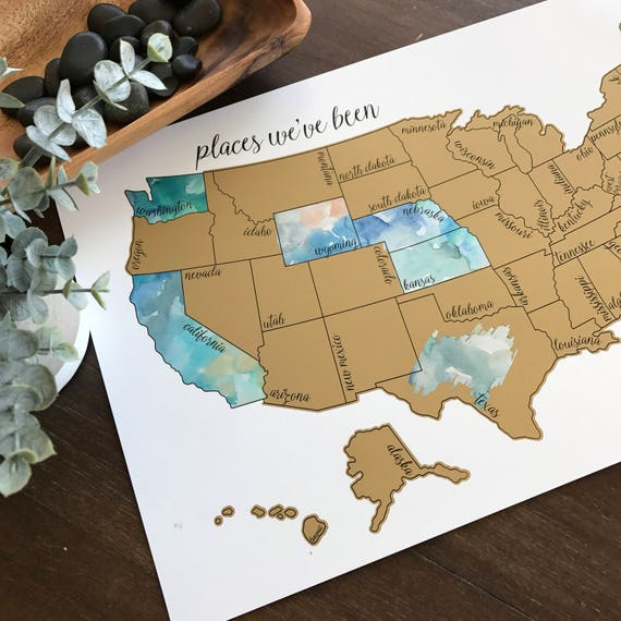 Holiday Sale - Free Shipping -Dreamer-Watercolor Scratch Off Map- United States of America (Made in USA)