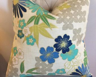 Handmade Decorative Pillow Cover - Richloom Beijing Lapis - Blue - Green - Gold - Tan