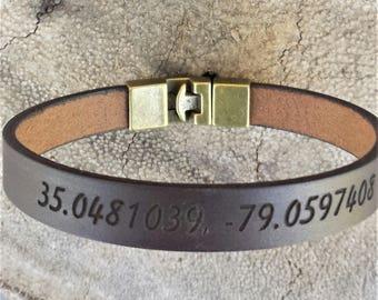 FREE SHIPPING-Coordinates Leather Bracelet,Leather Mens Bracelet, Bracelets for men, Men's Leather Wristband, Personalized Me's Bracelet