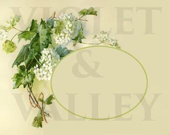 Victorian Hydrangeas Photo Album Page or Picture Frame Surround DIGITAL DOWNLOAD