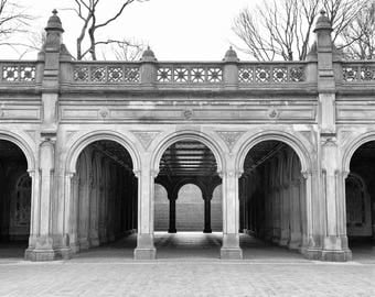 Central Park, Bethesda Terrace, New York Photography, Black and White, Architecture, Fine Art Photo Print, Wall Art, Home Decor, Neutral