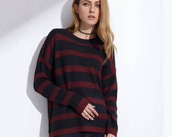 Striped Knitted Longe Sleeve Maroon and Dark Blue