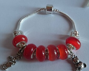 Bracelet charm's red, orange with charms bears ref 6