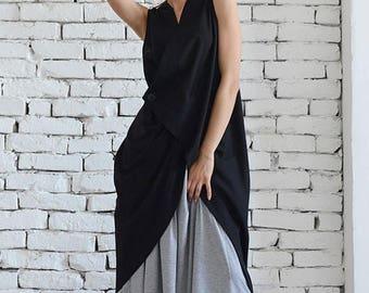 ON SALE Black Asymmetrical Top / Long Black Blouse / Asymmetric Tunic Top / Black Linen Vest / Loose Sleeveless Tunic by METAMORPHOZA