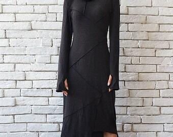 ON SALE Dark Grey Asymmetric Dress/Thumb Hole Sleeve Tunic/Turtle Neck Dress/Long Polo Dress/Oversize Grey Tunic/Long Sleeve Casual Dress/Gr