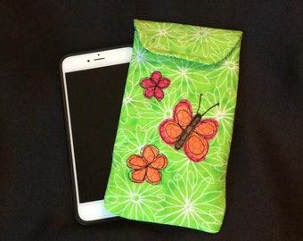 iPhone 6/7 Plus case, Smart phone case, padded batik fabric pouch, Gadget case. Large phone pouch, iPhone bag, eyeglass, iPhone 7 case 6P#32