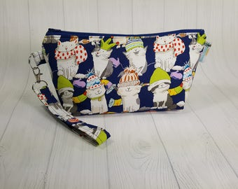 Small Knitting Project Bag, Knittens - cats wearing knitted hats & scarves, Zippered Wedge Bag, Zipper Knitting Bag, Cosmetic Bag WS0075