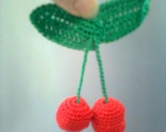Pair of crochet cherries